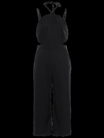 Loose Cutout Slip Jumpsuit - BLACK L Mobile