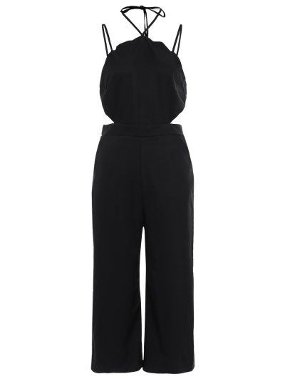 Loose Cutout Slip Jumpsuit - BLACK M Mobile