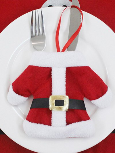 Christmas Santa Clothes Tableware Holder Bag - RED  Mobile