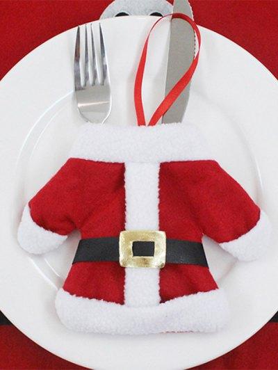 Christmas Santa Clothes Tableware Holder Bag - Red