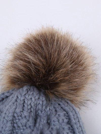 Winter Stripy Flanging Pom Hat - BLACK  Mobile