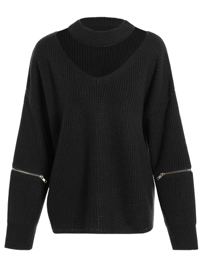 Plus Size Cut Out Chuky Choker Sweater - BLACK ONE SIZE Mobile