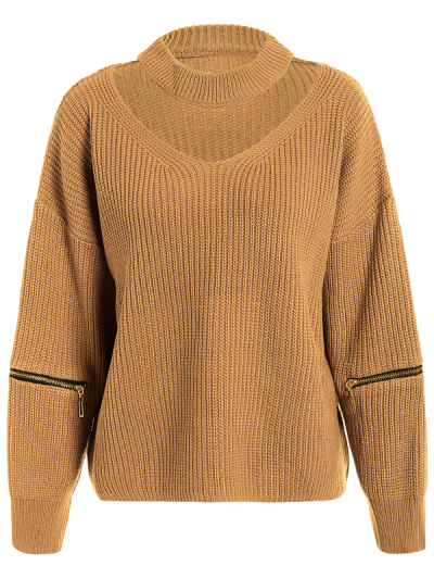 Plus Size Cut Out Chuky Choker Sweater - EARTHY ONE SIZE Mobile