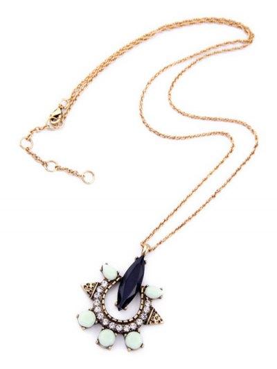 Faux Gemstone Rhinestone Necklace - GOLDEN  Mobile
