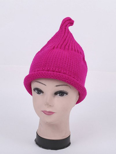 Winter Teat Shape Knit Hat - BRIGHT PINK  Mobile