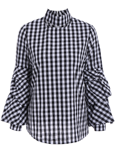 High Neck Checked Blouse - PLAID 2XL Mobile