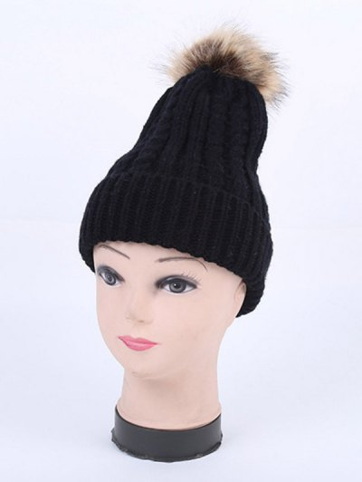 Winter Cable Knit Pom Hat - BLACK  Mobile