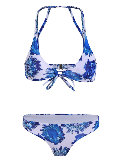 Printed String Strappy Bikini Set - BLUE M Mobile