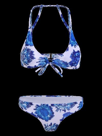 Printed String Strappy Bikini Set - BLUE S Mobile