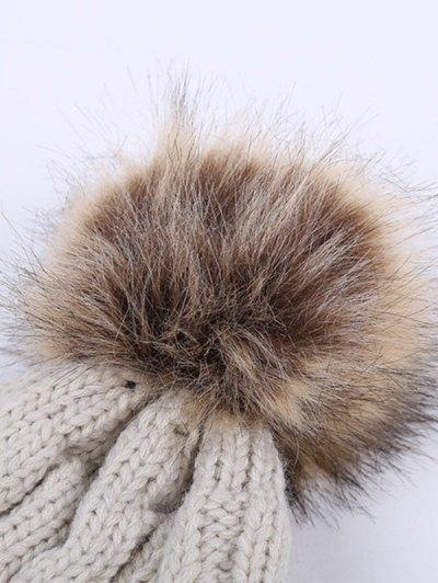 Winter Stripy Cable Knit Pom Hat - LIGHT GRAY  Mobile