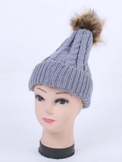 Winter Stripy Cable Knit Pom Hat - GRAY  Mobile