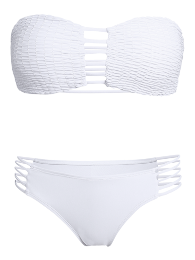 Cut Out Tube Bikini Set - WHITE L Mobile