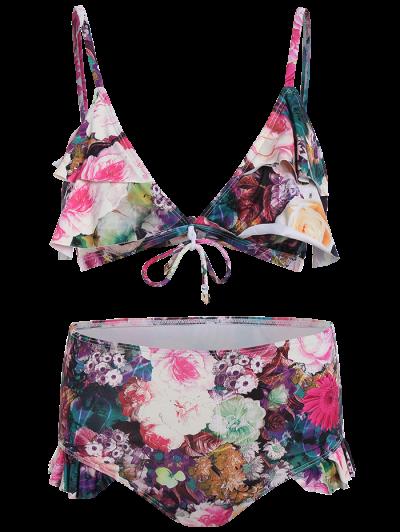 Front Tie Floral Ruffle Hem Bikini Set - FLORAL L Mobile