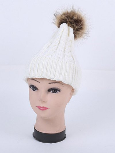 Winter Stripy Cable Knit Pom Hat - WHITE  Mobile
