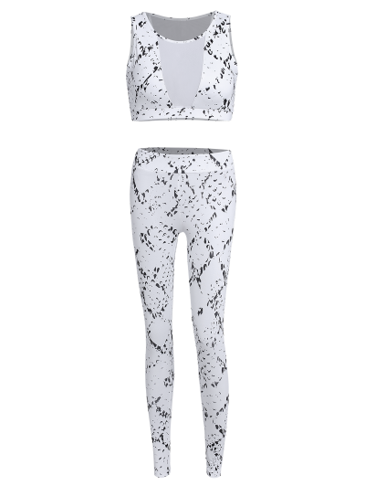 High Waist Mesh Spliced Skinny Sport Suit - WHITE L Mobile