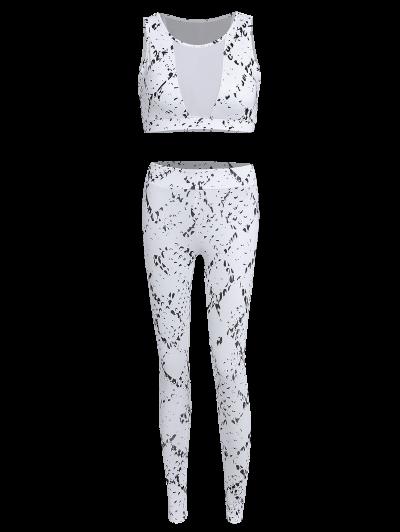 High Waist Mesh Spliced Skinny Sport Suit - WHITE S Mobile