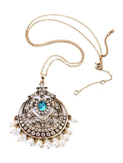 Retro Round Hollow Out Pendant Necklace - GOLDEN  Mobile