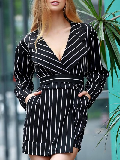 Striped Waisted Corset Lapel Collar Long Sleeve Playsuit - BLACK M Mobile