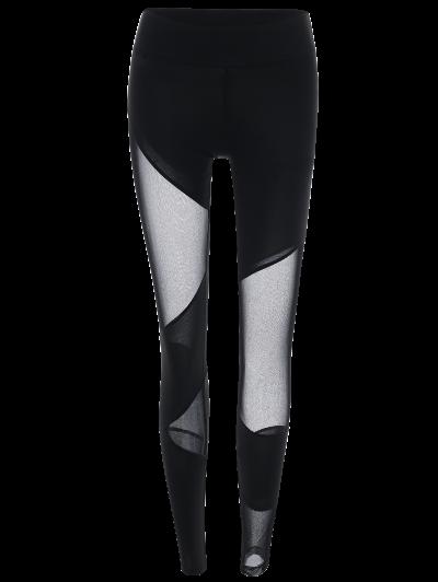 Mesh Insert Gym Sports Leggings - BLACK S Mobile