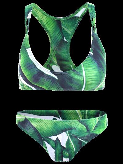 Racerback Design Leaf Pattern Bikini - GREEN M Mobile