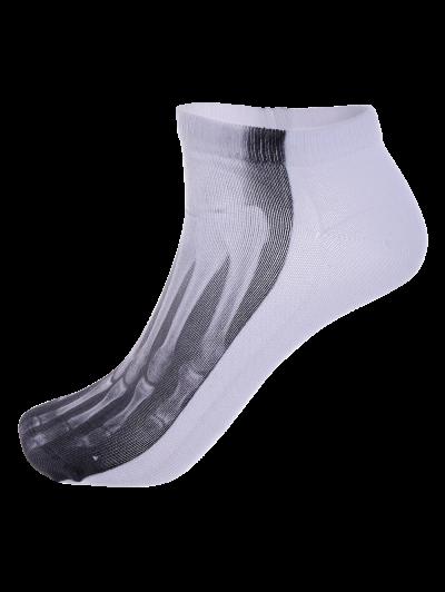 One Side 3D Foot Skeleton Printed Crazy Ankle Socks - WHITE  Mobile