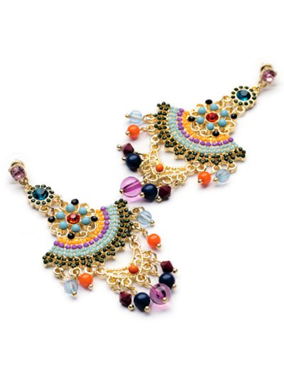 Pair of Special Shape Beads Embellished Earrings - COLORMIX  Mobile