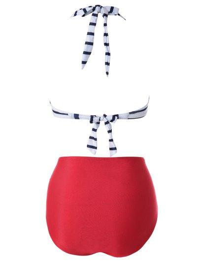 Halter Black White Stripe Bikini Set - RED WITH WHITE XL Mobile