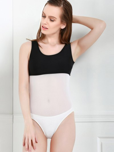Color Block Hollow One-Piece Swimwear - WHITE AND BLACK M Mobile