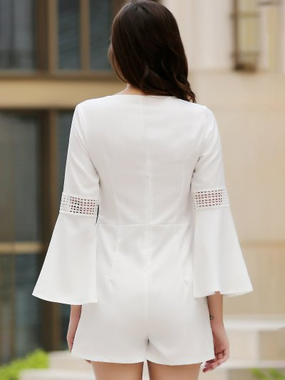 Cut Out Lace Splicing Plunging Neck Flare Sleeve Romper - WHITE M Mobile
