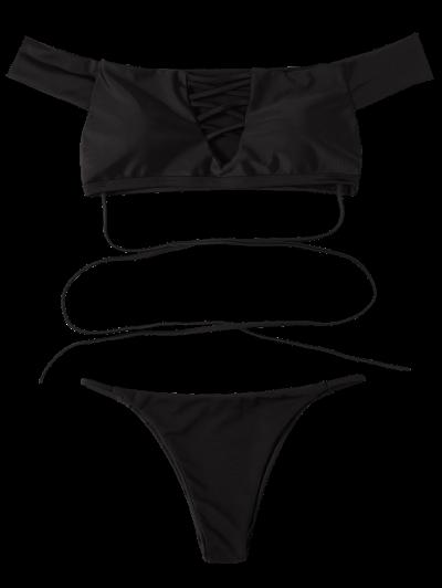 Lace-Up Off The Shoulder Bikini Set - BLACK L Mobile
