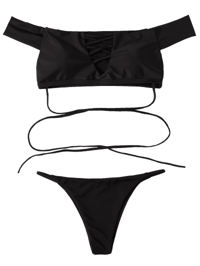 Lace-Up Off The Shoulder Bikini Set - BLACK S Mobile
