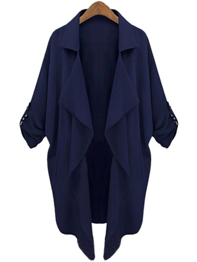 Long Sleeve Solid Color Trench Coat - Cadetblue
