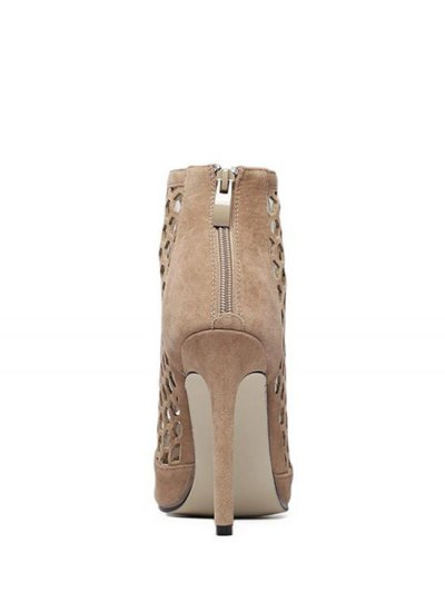 Openwork Pointed Toe Stiletto Heel Pumps - APRICOT 39 Mobile