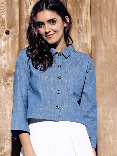 Cropped Denim Shirt - BLUE M Mobile