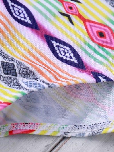 Spaghetti Strap Cross Color Block Stripe Swimwear - COLORMIX XL Mobile