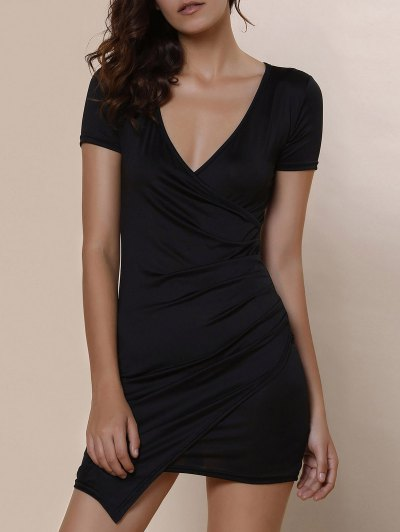 Plunging Collar Solid Color Bodycon Dress - BLACK L Mobile
