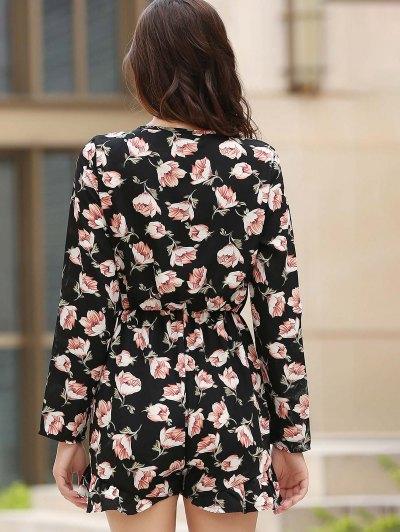 Lace-Up Floral Print Plunging Neck Long Sleeve Playsuit - BLACK L Mobile