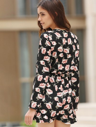 Lace-Up Floral Print Plunging Neck Long Sleeve Playsuit - BLACK M Mobile