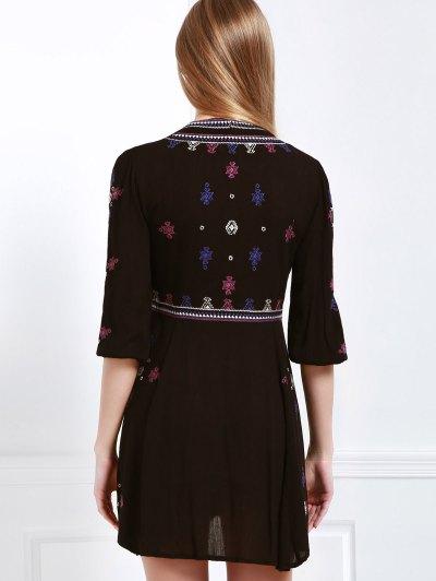 Embroidered Drawstring Design Mini Dress - BLACK M Mobile