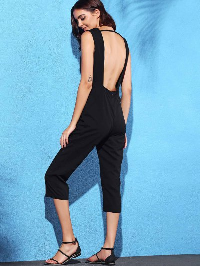 Black Hollow Plunging Neck Sleeveless Jumpsuit - BLACK XL Mobile