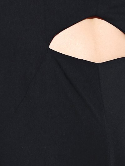 Black Hollow Plunging Neck Sleeveless Jumpsuit - BLACK L Mobile
