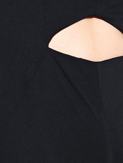 Black Hollow Plunging Neck Sleeveless Jumpsuit - BLACK M Mobile