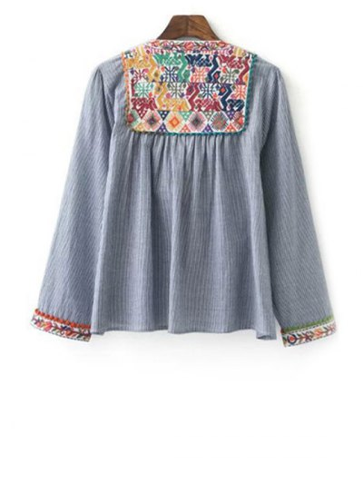 Ethnic Embroidery Round Neck Long Sleeve Coat - GRAY M Mobile