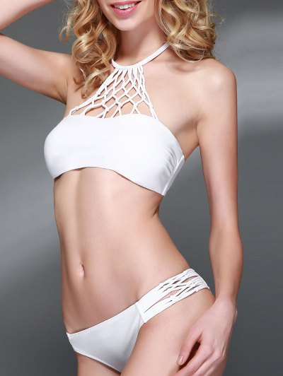 Openwork Halter Cut Out Bikini Set - WHITE L Mobile