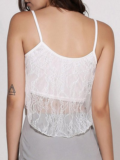 Lace Spaghetti Strap Crop Top - WHITE S Mobile