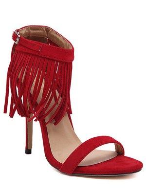 Solid Color Fringe Stiletto Heel Sandals - Red