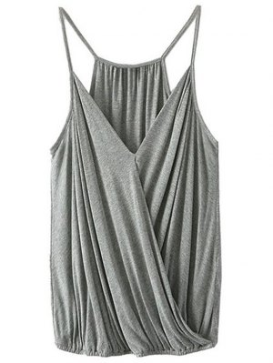 Crossed Plunging Neck Solid Color Tank Top - Gray