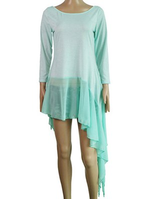 Irregular Hem Chiffon Splice Scoop Neck Dress - Lake Blue