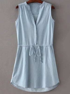 Drawstring Stand Collar Sleeveless Pockets Dress - Ice Blue