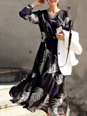 Leaf Print V Neck Long Sleeve Maxi Dress - Black